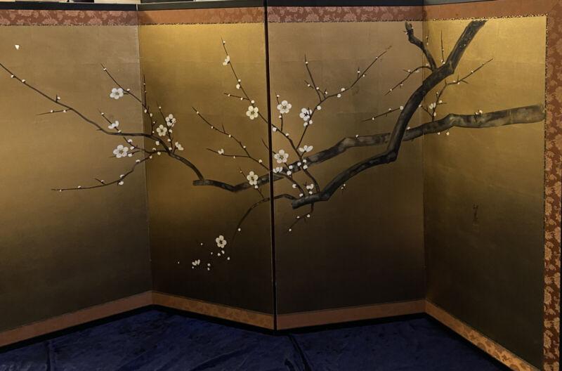 Vintage Mid Century Japanese 4 Panel Screen Hand Painted Silk
