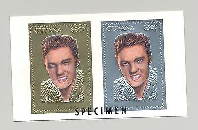 Guyana MI #4526-27 Elvis Presley on 1v Gold & Silver Compound Sheet o/p Specimen