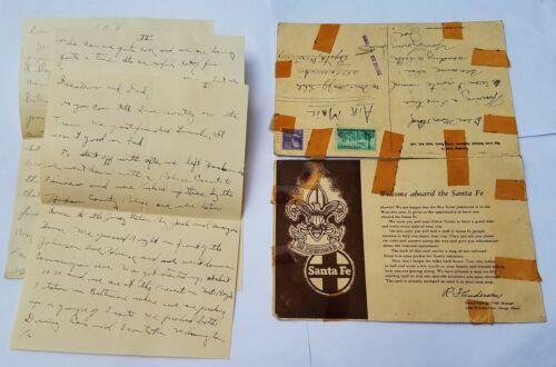 RARE Santa Fe Railroad Postcard for 1953 BOY SCOUT JAMBOREE & Handwritten letter