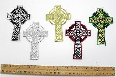 Celtic Religious Cross - Iron On Patch Applique - Celtic Religious Cross 4 1/4