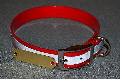 "WARNER REFLECTIVE DAYGLO DOG COLLAR />RED/< 25/"" FREE BRASS ID TAG"