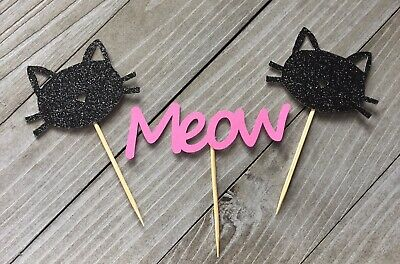 12 Black Cat Cupcake Toppers, Kitty Party Decor, Meow, Cat - Caterpillar Cupcakes