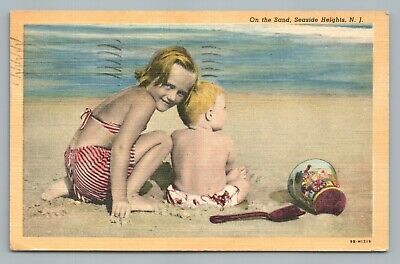 Sand Playing Kids SEASIDE HEIGHTS New Jersey Shore Vintage Cute Linen PC (Jersey Shore Kids)