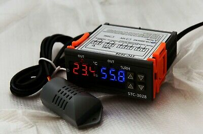 220v110v Digital Temperature Humidity Moisture Dual Controller Usa Shipping