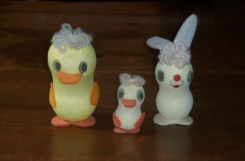 3 EASTER Unlimited Bunny Chick Baby Nylon Sock Styrofoam Vintage Decorations