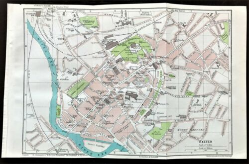 👁 ͜ʖ👁    Antique Color Map  EXETER, ENGLAND 100% AUTHENTIC 👁 ͜ORIGINAL 1930
