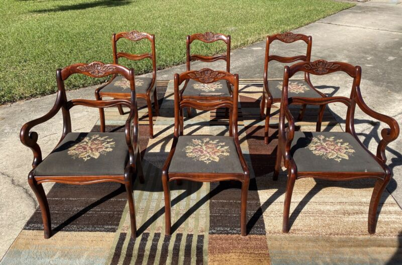 SET OF 6 DUNCAN PHYFE ANTIQUE MAHOGANY WOOD DINING SIDE CHAIRS CARVED ROSES Ship