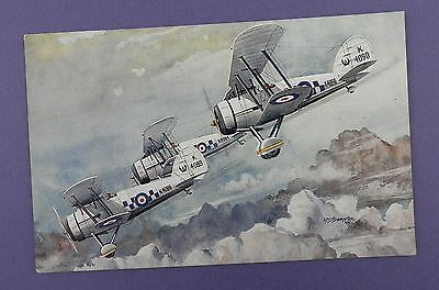 Gloster Gauntlets No.19 F Squadron -  Unused Art Postcard - Bannister Artwork