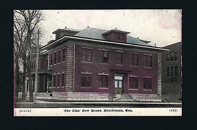 Hutchinson Kansas KS c1908 The New Elks House, 2 Story Brick & Stone Building