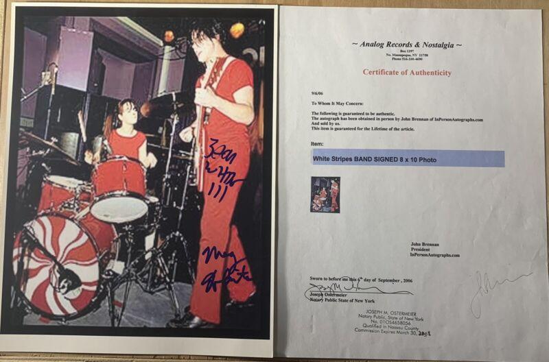The White Striped signed photo X2 Jack White Meg White rare