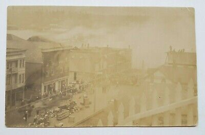 Bandon Oregon 1914 Big Fire Waterfront Stores West First St RPPC Photo (Waterfront Stores)