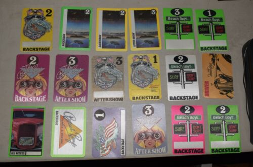 THE BEACH BOYS concert pass LOT of 18 different passes FREE SHIPPING