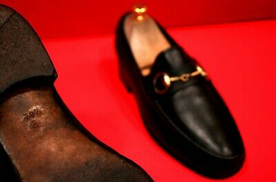 $729.00 !! GUCCI MEN'S ICONIC BLACK LEATHER HORSE BIT LOAFERS MARKED SIZE 39.5 D