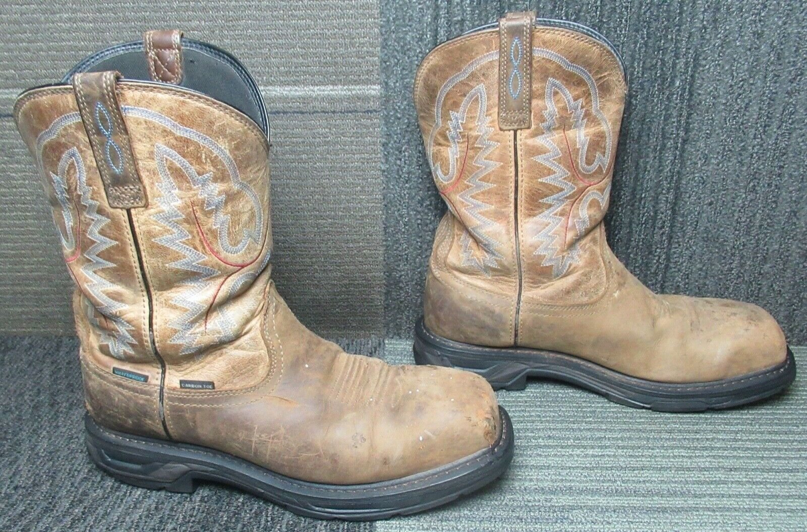 Mens ARIAT Workhog XT Waterproof Carbon Toe Leather Work Boots Sz 11 EE - $44.52
