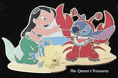 Disney Halloween Costume Stitch and LILO as Ariel and Sebastain Pin LE
