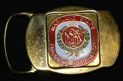MARYLAND STATE FIREMEN'S ASSOCIATION METAL BELT BUCKLE FIRE DEPT