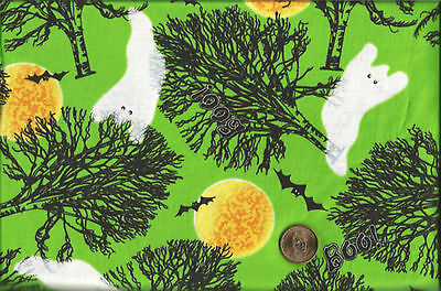 Halloween Ghosts Black Bats Orange Moon Trees on Green Cotton Fabric BTY (Orange Moon Halloween)