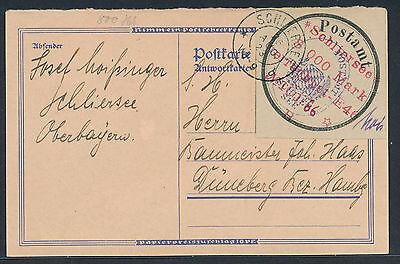 Lokalausgabe Schliersee Gebührenzettel Postkarte 1923 Düneberg Attest (S12840)