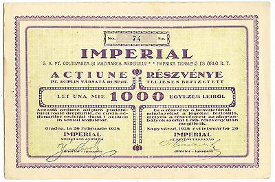 Romania bilingual Share Aktie 1928 Oradea IMPERIAL pepper cultivation & milling