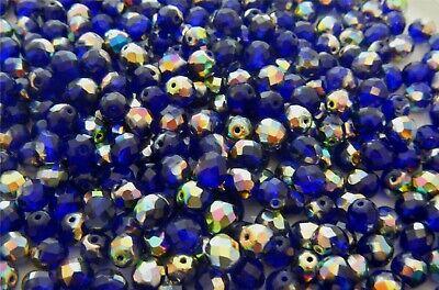 1200 Pcs  6mm CZECH GLASS FIRE POLISHED BEADS - COBALT BLUE