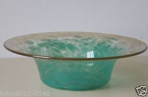 Monart Glass Bowl Green with Gold Aventurine in clear glass UB VII 8.5