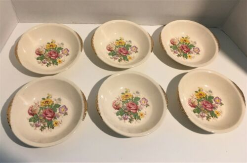 Paden City Pottery Vintage Wild Flowers Floral Dessert Bowls Set of 6