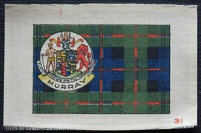MURRAY Clan Tartan and Coat of Arms SILK card issued in 1922