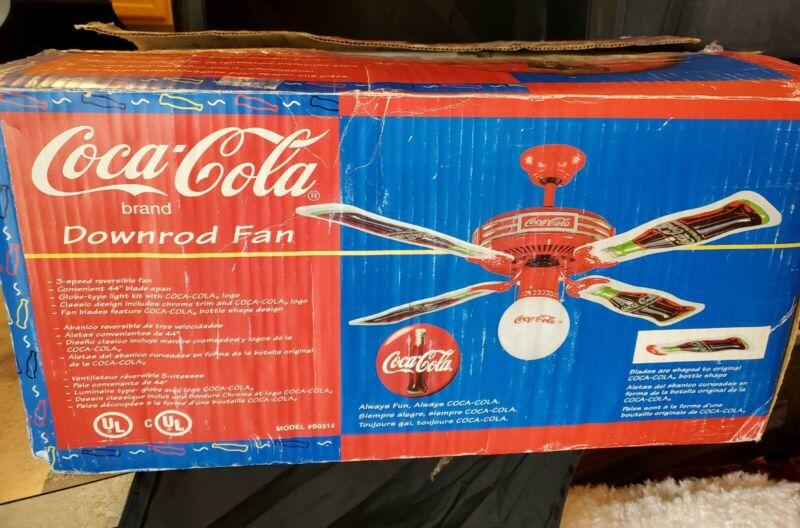 "Coca-Cola RARE Downrod Ceiling Fan - Brand New - Never Used - 44"" - Glass Globe"