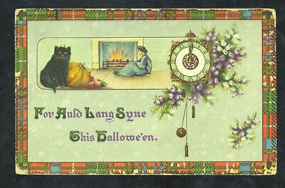 VINTAGE HALLOWEEN POSTCARD JOHN WINSCH BLACK CAT CLOCK DECATUR ILLINOIS 1911