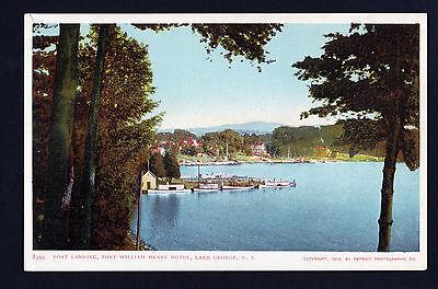 1904 boat landing Fort William Henry Hotel Lake George New York postcard