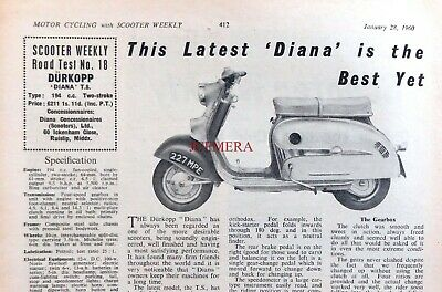 DURKOPP 'Diana T.S.' 194cc 2-Stroke Scooter - 1960 Magazine Report (2-Sided)
