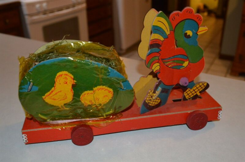 Vintage EASTER Dolly Toy Co Tipp City Ohio WWII era pull chicken wheeled toy