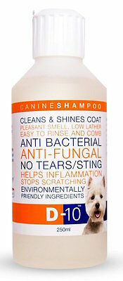 D-10 Shampoo: Anti-Fungal/Bacterial, 'No Tears', a Healthy, Shiny coat for dogs