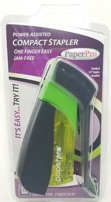 Paperpro Spring-powered Assisted Compact Stapler 15 Sheets Capacity Green