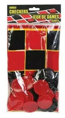 "25 Piece Plastic Foldable Board Jumbo Checkers Chips Game Set 20""x20"""