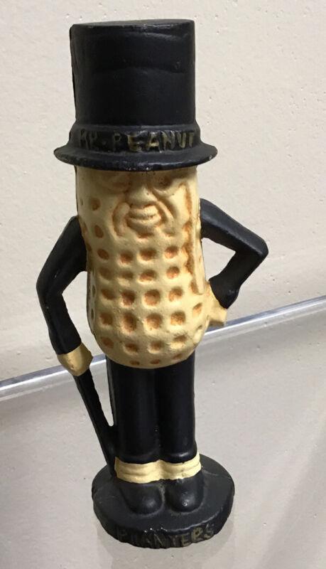 "Vintage Mr. Peanut Planters Mascot Cast Iron Coin Bank 5 1/2"""