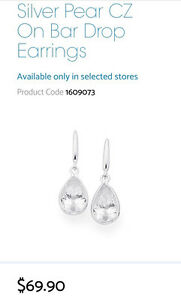 Prouds Silver pear drop earrings Baulkham Hills The Hills District Preview
