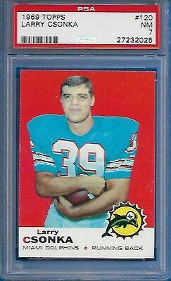 Купить 1969 Topps Football Larry Csonka RC Rookie Card #120 NM PSA 7