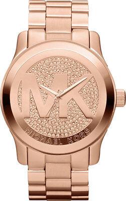 Michael Kors MK5661 Rose Gold Tone Pave Crystal Runway Wrist Watch Free Shipping