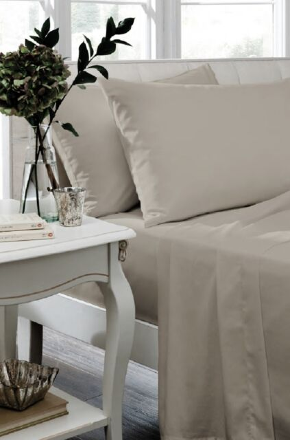 Catherine Lansfield Natural Non Iron Percale Sheets And Optional Pillowcases