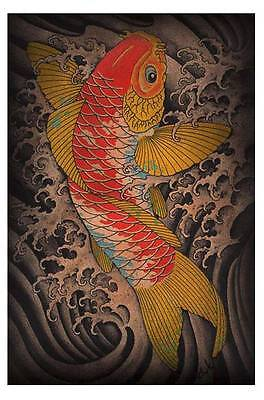 Koi by Clark North Tattoo Art Print Classic Japanese Style Fish and Waves (Japanese Art Tattoo)