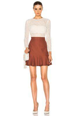 $695 Veronica Beard White Lace Rust Bex Ruffle Hem Illusion Dress 2 NWT V251 - Short White Beard