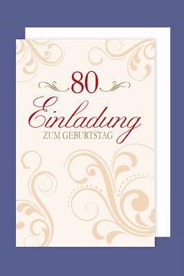 Einladungskarte 80 Geburtstag 5er Packung Ornamente Foliendruck 5 Karten 15x11cm (80. Geburtstag Einladungen)
