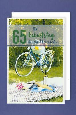 65 Geburtstag Karte Grußkarte Fahrrad Garten Banderole