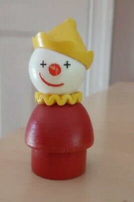 Vintage Fisher Price little people wood red circus clown yellow hat 991/135/675