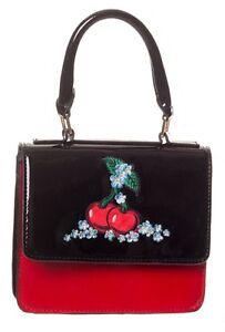 Cherry Handbag by Banned  Floral 50s Rockabilly Strap Shoulder Bag BLACK Red