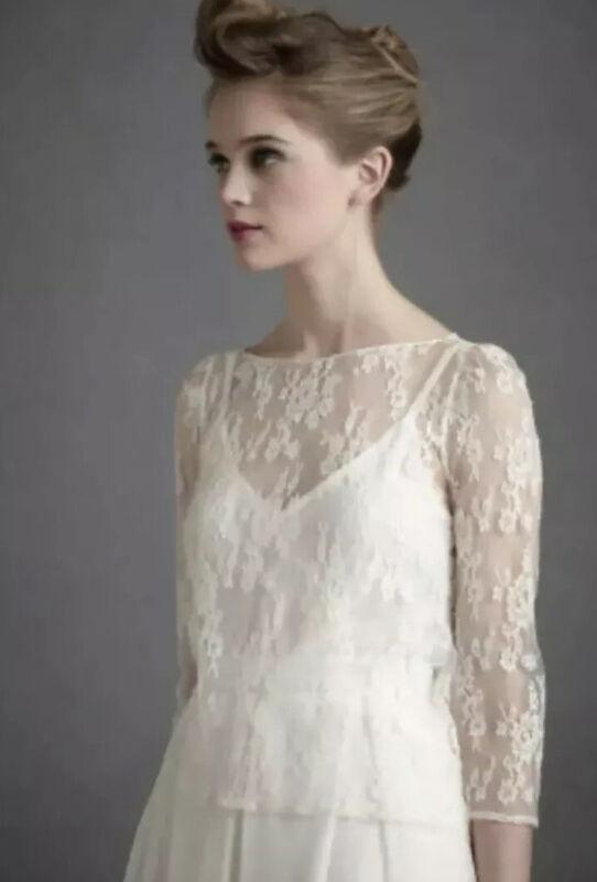 NEW BHLDN Delphine Manivet Lace Wedding Topper Size 38