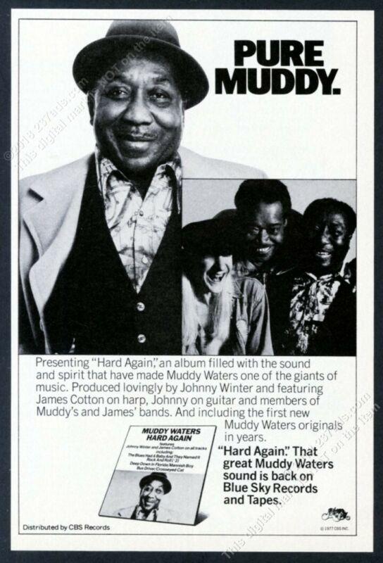 1977 Muddy Waters photo Hard Again album release vintage print ad
