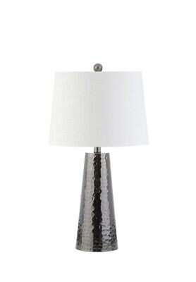 "Jonathan Y 26"" Wells Hammered Metal LED Table Lamp Black Hammered Nickel Table"