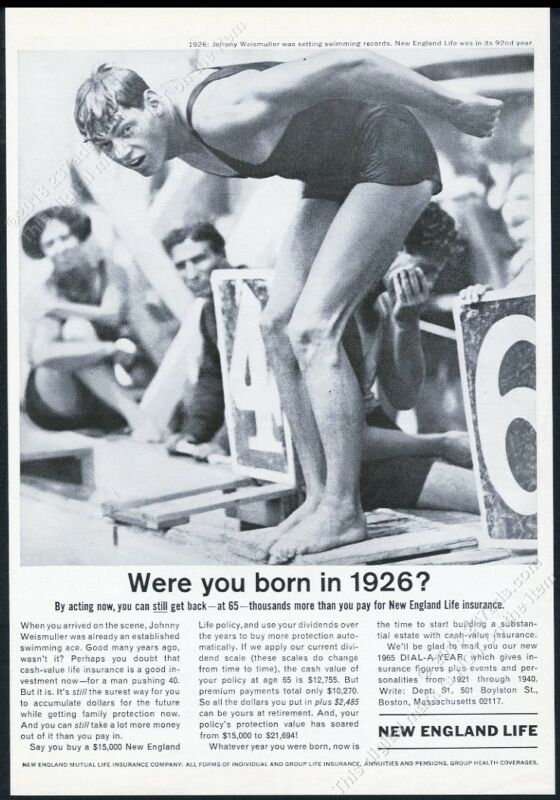 1926 Johnny Weismuller photo diving 1965 New England Life Insurance print ad